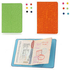 Embossed PU Leather Travel Passport Holder Ticket ID Credit Card Journey Cover