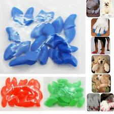 New 20pcs Soft Cat Pet Nail Caps Claw Control Paws off+Adhesive Glue GBNG