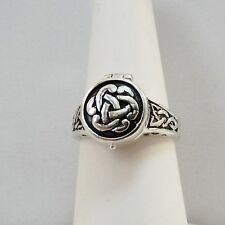Celtic Knot Poison Ring - 925 Sterling Silver - Suicide Ring Poison Trinity Ring