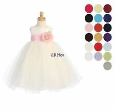 Flower Girl Dress IVORY Girls Poly Silk & Tulle Formal Dress Sizes 5 - 12