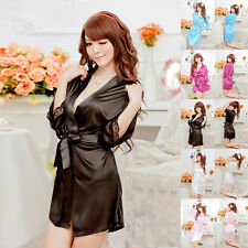 Black Sexy Silk Lace Kimono Dressing Gown Bath Robe Babydoll Lingerie Nightdress
