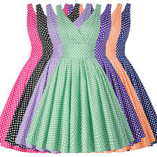 COMFY Cotton Vintage Polka dot Swing 50's Housewife pinup Rockabilly Retro Dress