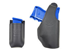 New Barsony Black Leather OWB Holster + Mag Pouch Colt, Kimber Compact 9mm 40 45
