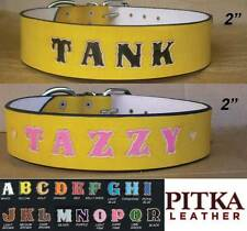 Yellow Leather Dog Collars - Custom Leather Dog Collar - Unique Dog Collars XXL