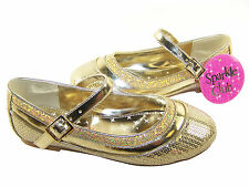 Girls gold sequin and glitter special occasion ballerinas with buckle fastening