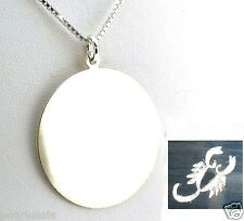 "21MM Wide Custom Engraved Horoscope Zodiac Sign Pendant w/16"" Chain, 925 Silver"