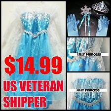 Frozen Elsa Dress Costume Gown Princess Tiara Gloves Wand S M L XL Kid Anna Girl