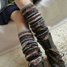 2014 New Women Winter Warm Long Leg Warmers Knit Crochet Socks Legging Stocking