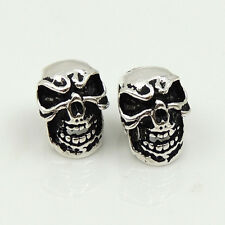 2 Pcs 925 Sterling Silver 8x11mm Vintage Celtic Skull Bead Charm Spacer WSP215x2