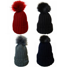 Ladies Soft Chunky Knitted Woolly Beanie Faux Fur Bobble Pom Pom Ski Winter Hats