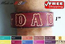 "Custom Leather Bracelet Personalized, variety of colors 1"" Wristband, Band"