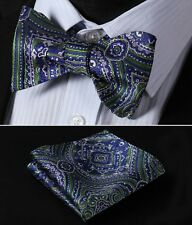 BF423G Green Blue Floral Men Woven Silk Self Bow Tie Pocket Square Set