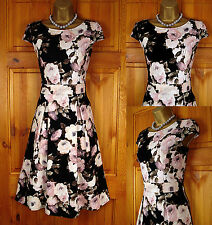 NEW DOROTHY PERKINS BLACK PINK IVORY CREAM VINTAGE 50s STYLE FLORAL TEA DRESS