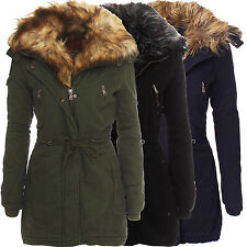 Damen Warmer Parka Winter Jacke Mantel Outdoor Wintermantel Kunst Fell Kapuze
