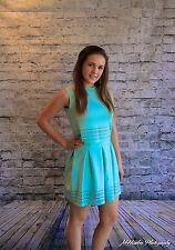 NEW Authentic Mint Green Gracia New York Mint Cutout Pleated Skater Skirt