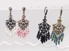 """IMAGE 2.25"""" WHITE PINK GREEN or BLACK CRYSTAL ACRYLIC LEVER DROP EARRINGS NEW"""