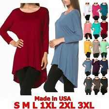 Women Scoopneck 3/4 Sleeve Shirt Dress High-Low Hem Long Tunic Top S M L XL /USA