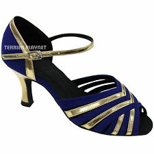 TPS Gold Patent & Blue Suede Latin Ballroom Salsa Custom-made Dance Shoes D778