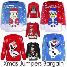 Unisex Kinds Xmas Jumpers Warm Knitted Long Sleeves OLAF Frozen Minion All Sizes