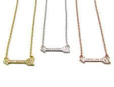 Mini CZ Arrow Necklace, Petite Cubic Zirconia, Sterling Silver, Yellow Gold or R