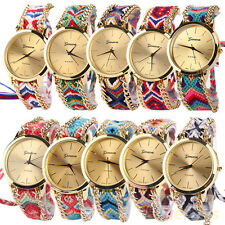 Women Stunning Geneva Ethnic Braided Analog Quartz Chain Bracelet Wrist Watch