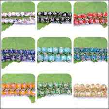 10pcs New Faceted Lampwork Glass Charms Rose Flower Finding Loose Bead 10MM 12MM