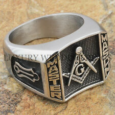 Men Masonic Ring Blue Lodge 3rd Degree Square G Master Mason Freemason Size 9-13