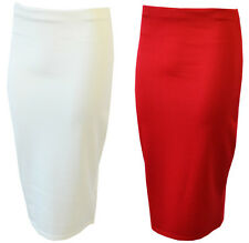 NEW WOMENS PLAIN LONG SLIM BODY CON OFFICE PENCIL STRETCH OFFICE SKIRTS 8-14 UK