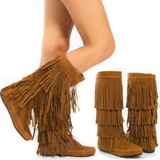 Tan Faux Suede Round Toe Mid Calf 4 Layer Fringe Tassel Moccasin Flat Boots 5-11