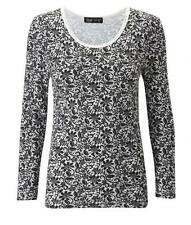 Ladies Lace Print Thermal Long Sleeve Top, Black/White Thermals Size 10/20