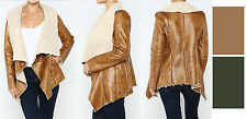 NEW Women's Faux Shearling Jacket Sheepskin Coat Fake Sherpa Leather/Wool S M L