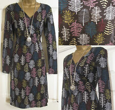NEW EX MISTRAL BLACK PURPLE BLUE LEAF PRINT WRAP JERSEY COTTON DRESS TUNIC 8-18