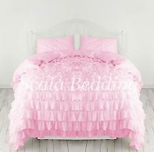 Waterfall Ruffle 3PCS Duvet Cover Set Egyptian Cotton Bedding Pink SOLID CHOOS