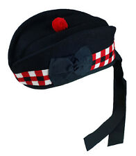 New Scottish Glengarry Wool Hat Kilts Red Black White Diced All Sizes 52-62