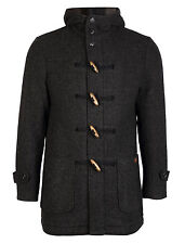 MEN'S STYLISH 'NEW FOR WINTER' WOOL MIX HERRINGBONE HOODED  DUFFLE COAT