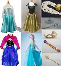 FROZEN DRESS ELSA ANNA PRINCESS DRESS COSTUME KIDS GIRL PARTY FANCY SNOW QUEEN