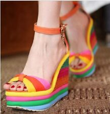 womens boho rainbow color splicing wedge high heel ankle buckle sandals shoes Sz