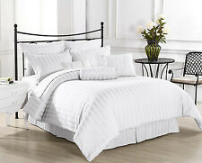 Hotel Collection 1000 TC Brand New Fitted & Pillow Case White Striped 100%Cotton