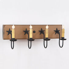 COUNTRY VANITY LIGHT Wood & Metal Primitive 4 Candle Light w Rustic Barn Stars