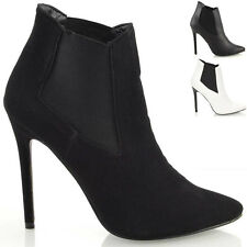 Ladies Stiletto High Heel Pointed Toe Womens Chelsea Ankle Boots Shoes Size 3-8