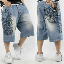 mens hip hop street dance washed embroidery loose denim baggy jeans pants shorts