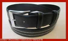 "NEW MENS WOMENS LEATHER 1 1/2"" INCH DRESS CASUAL BELT BLACK WITH SILVER BUCKLE"