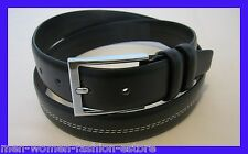 "NEW UNISEX  MEN'S WOMEN'S LEATHER 1 1/4"" INCH DRESS BELT BLACK  DOUBLE STITCHED"