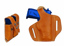 NEW Barsony Tan Leather Pancake Gun Holster + Mag Pouch Kel-Tec, Ruger 22 25 380