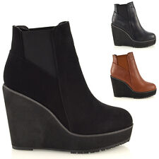 Womens Wedge Heel Chelsea Chunky Cleated Platform Ladies Ankle Boots Shoes Size