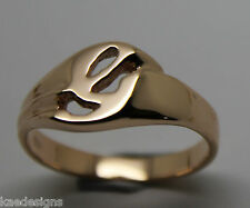 KAEDESIGNS, GENUINE, SOLID YELLOW OR ROSE OR WHITE GOLD 375 LARGE INITIAL RING G