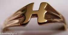 KAEDESIGNS, GENUINE, SOLID YELLOW OR ROSE OR WHITE GOLD 375 LARGE INITIAL RING H