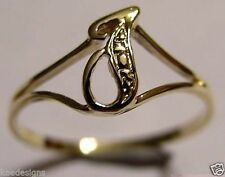 KAEDESIGNS, GENUINE, SOLID YELLOW OR ROSE OR WHITE GOLD 375 INITIAL RING J