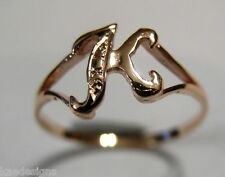 KAEDESIGNS, GENUINE, SOLID YELLOW OR ROSE OR WHITE GOLD 375 INITIAL RING  K
