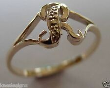 KAEDESIGNS, GENUINE, SOLID YELLOW OR ROSE OR WHITE GOLD 375 INITIAL RING R